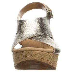 Clarks Slingback Cork Wedge Platform Sandal Shoes